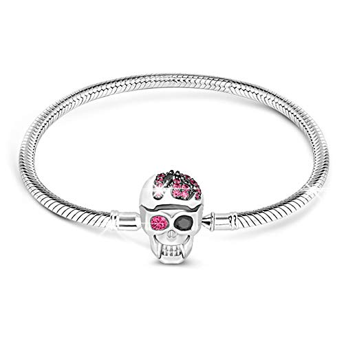 GNOCE 'Elegant Skull Skull Bracelet with Eye-Catching Black and Fuchsia Crystals Handcrafted Sterling Silver with an Elegant Bangle Fit All Major Brands of Charms Bracelets (18.0 Centimeters(7.1in))