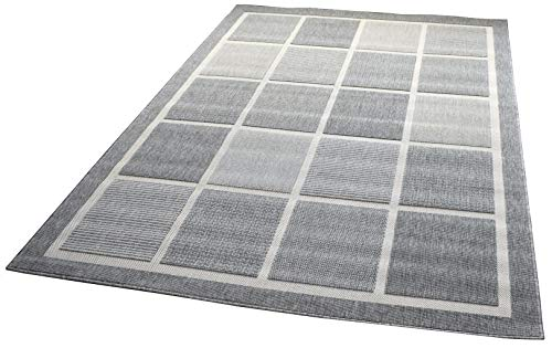 Domdeco In- und Outdoor-Teppich Square Tiles Grey L 140x200cm f. Innen und Außen