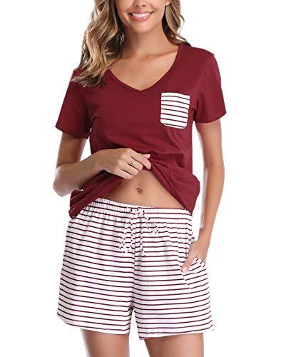 Vlazom Damen Schlafanzug Baumwolle Pyjama Set Weich Sommer Nachtwäsche Kurzarm V Aussschnitt Sleepwear mit Kordelzug, Dunkelrot, L