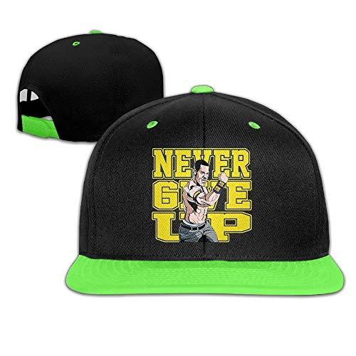 YVES Unisex Kids John Cena Logo Geef nooit Hit Kleur Hip-Hop Baseball Caps Hoeden KellyGreen