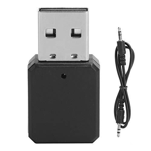 Plyisty Adaptador de Transmisor USB Bluetooth 5.1, Receptor de Audio Transmisor Bluetooth Inalámbrico, Micrófono Integrado, con Cable AUX de 3.5mm, para Coche, Altavoz