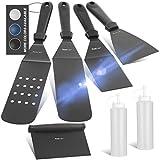 Wanbasion - Black Set di Accessori per Piastra per Barbecue, con Piastra Piatta, Accessori per Barbecue, con Raschietto Resistente, spatola e Bottiglie