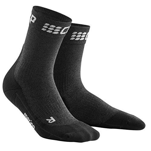 CEP – WINTER SHORT SOCKS Für Damen | Warme Laufsocken mit Kompressionswirkung in grau / schwarz | Größe III