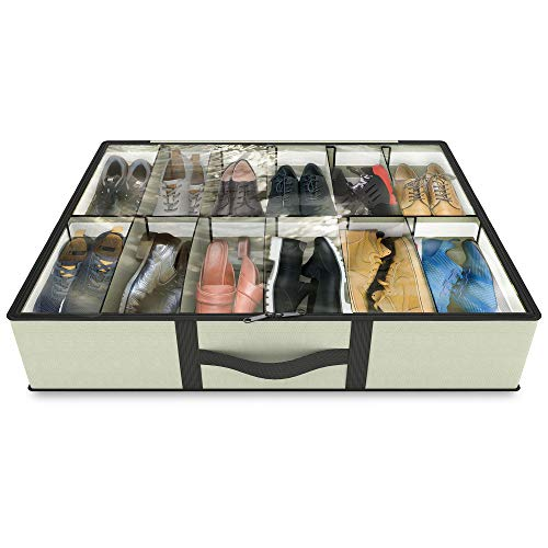 Under bed Shoe Storage Organizer - UPGRADED DESIGN - Adjustable Dividers - Customizable Cells up to...