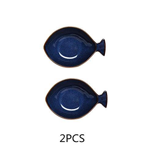 Teller Japanische Keramik Kreative Haushaltsschale Mikrowelle Obstschale Haferflocken Joghurtschale Cartoon Blue Fish Bowl Suppenschüssel 2St