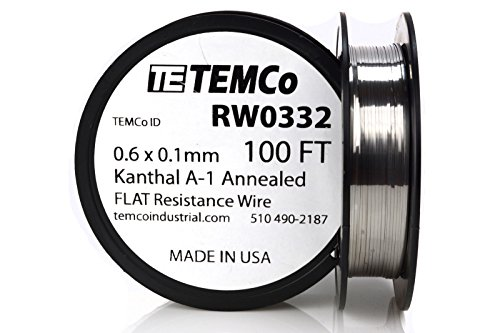 TEMCo Flat Ribbon Kanthal A1 Wire 0.6mm x 0.1mm Resistance A-1