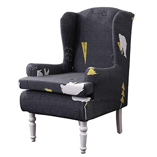 SINKITA Wing Chair Slipcover,Stretch Elastic Armchair Chair Feature Soft Wingback Chair Covers Spandex Fabric Wing Back Wingback Armchair Chair Slipcovers-Pattern B