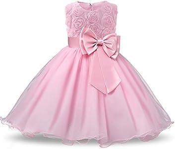NNJXD Vestido de Fiesta de Princesa con Encaje de Flor de 3D sin Mangas para Niñas Talla(90) 1-1.5 Años Rosa