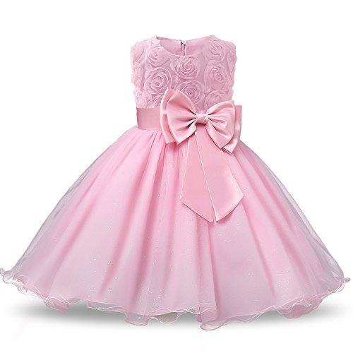 NNJXD Vestido de Fiesta de Princesa con Encaje de Flor de 3D sin Mangas para Niñas Talla(110) 2-3 Años Rosa