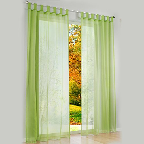 Transparent Schlaufen Gardine Schöne Vorhänge 1er-Pack Vorhang H*B 145 * 140cm Grün