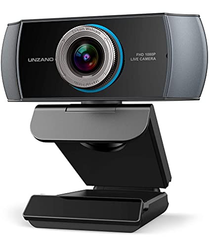 Full HD 1080P Webcam, Unzano Streaming Camera, Webcam with Microphone, Wide Angle USB Computer Camera with Facial-Enhancement Tech, Webcam for Desktop Laptop PC Mac, Video Conferencing, Skype, YouTube