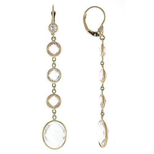 14ct oro Amarillo Pendientes cuarzo Ronda Drop con cristales piedras preciosas topacio blanco