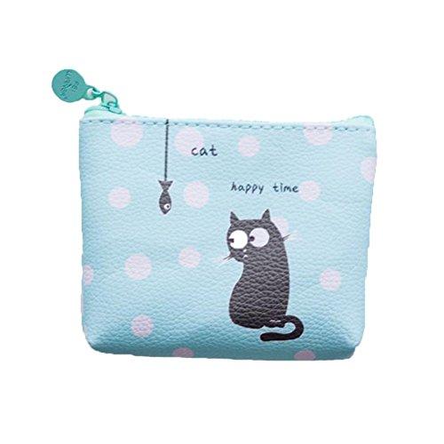 Drawihi Schwarze Katze klein Beutel Münze Portemonnaie Brieftasche Münze Tasche Halterung Aufbewahrung Tasche tragbare Kosmetiktasche für Damen, Mädchen und Studenten