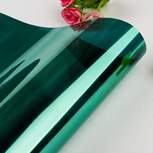 40/50/60/70/80 * 200/500 cm One Way Mirror Película de ventana Auto adhesivo Pegatinas de vidrio UV Reflectante Transferencia de calor Vinilo Película solar ( Color : Green Silver , Size : 60x300cm )