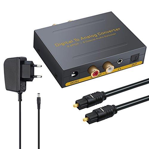 DAC Convertidor Digital Coaxial Óptica SPDIF Toslink a Estéreo Audio Analógico RCA L/R, 3.5 mm y Conmutador Óptico Jack para Apple TV PS3 PS4 DVD Sky HD BLU-Ray