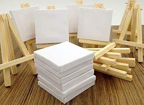 Wandervogel 12 Stück Mini Staffelei mit Keilrahmen Leinwand Gastgeschenk Tischdeko 8xH13 cm leerer Leinwand zum Malen Aquarellmalerei Tischdekoration