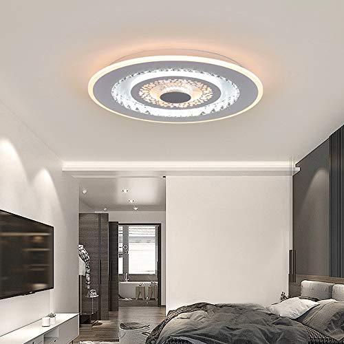 LED Deckenleuchte Runde Kristallglas Deckenlampe Dimmbar Weiß Light/Warm Light Modern Einfache Decken Licht für Schlafzimmer Wohnzimmer Kinderzimmer Lampe Eisenkunst Acryl Leuchte Ø50CM,A