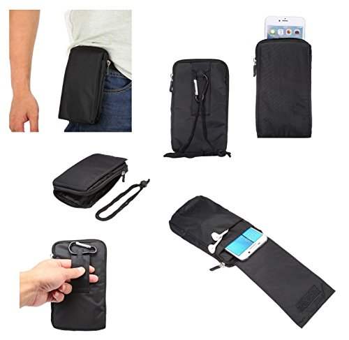 DFVmobile - Multi-Functional Universal Vertical Stripes Pouch Bag Case Zipper Closing Carabiner for DOOGEE NOVA Y100X - Black XXM (18 x 10 cm)