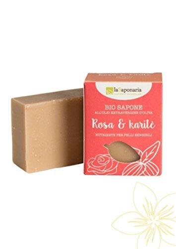 LA SAPONARIA - Jabón de Manteca de Karité y Rosa - para Pieles Delicadas y Secas - Suavizante y nutritivo - Vegano - 100 g