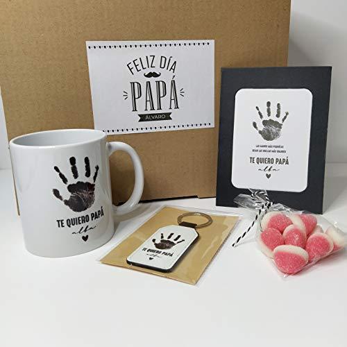 Pack Personalizado Regalo Día del Padre Huella Te Quiero Papá
