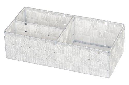 WENKO Organizer Adria Weiß - Aufbewahrungsbox, 3 Fächer, Polypropylen, 35 x 10 x 17 cm, Weiß