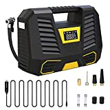Air Compressor Tire Inflator Portable Air Pump for Car Tires 12V DC Auto Tire Pump with Digital Pressure Gauge, Cars Tire Pump with Emergency LED Light for Car, Bicycle, Balloons and Other Inflatables