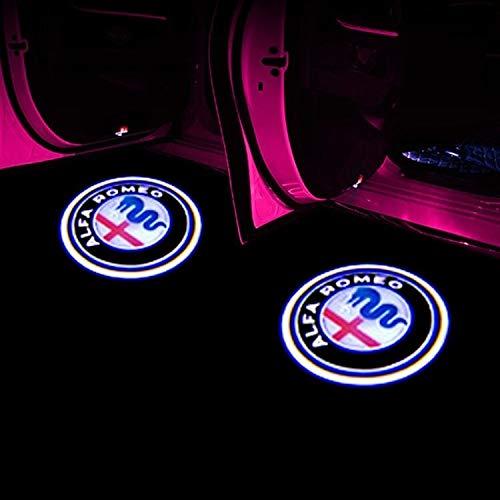 Luz de bienvenida de la puerta del coche Bienvenido Luz for Alfa Romeo LED Puerta del coche de insignia agradable luz del proyector Giulia Giulietta Mito Stelvio Brera 147 156 159 Styling Luz de la pu