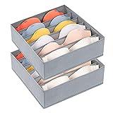 DIMJ 2 Pack Bra Drawer Organizers, 6 Cells Underwear Organizer for Closet Dress Drawer Storage Bins with Divider Zip Foldable Cube Storage Cabinet Organizer Fabric Box for Bra, Socks, Ties, Belts