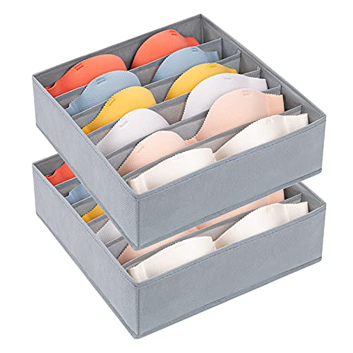 DIMJ 2 Pack Bra Drawer Organizers, 6 Cells Underwear Organizer for Closet Dress Drawer Storage Bins with Divider Zip Foldable Cube Storage Cabinet Organizer Fabric Box for Bra, Socks, Ties, Belts