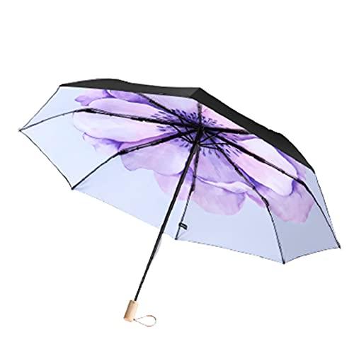 YQDHHD Paraguas de Protección UV, Paraguas de Doble Propósito para Día Soleado y Día Lluvioso. Sombrilla Pequeña de Doble Capa Negra Paraguas Plegable Ventilado a Prueba de Lluvia,Azul