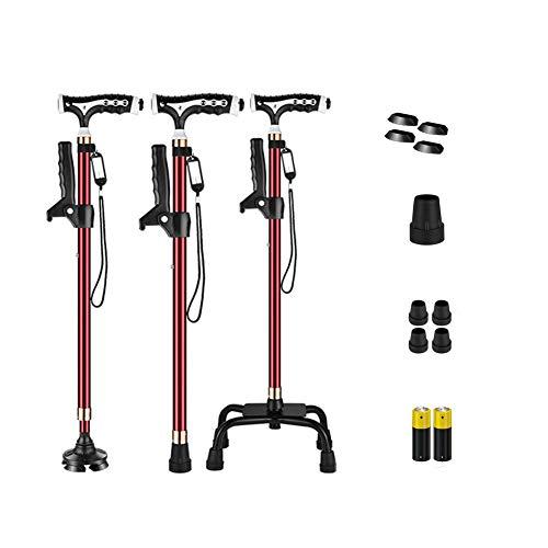 RAXST Bastones para Caminar retráctiles multifuncionales, muletas Antideslizantes Tipo con luz LED Soporte Giratorio de 360 ° para Personas Mayores y discapacitadas, 64-96cm