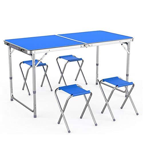 Kit de table et 4 chaises pliables MultiWare - Portable - Pour extérieur : pique-nique, jardin, dîner, camping - Bleu