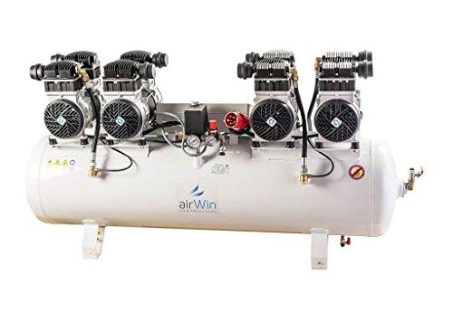Airwin Leiselauf Druckluft Kompressor ölfrei 4x1,5 kW/400 V (mit Schaltelektronik zum Zeitversetzten Anlauf der Pumpengruppen), 8 bar, 150 l Liter Kessel, 1000 l/min Ansaugleistung