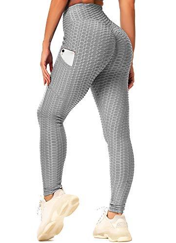INSTINNCT Damen Slim Fit Hohe Taille Sportshort Lange Leggings mit Bauchkontrolle Booty Stil mit Taschen - Grau S