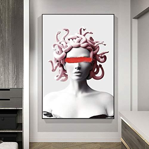 Graffiti Arte de la Pared Vapor Wave Escultura Lienzo póster Pintura Cubierta Abstracta Cara Arte Imagen en la Pared 60x90 Sin Marco