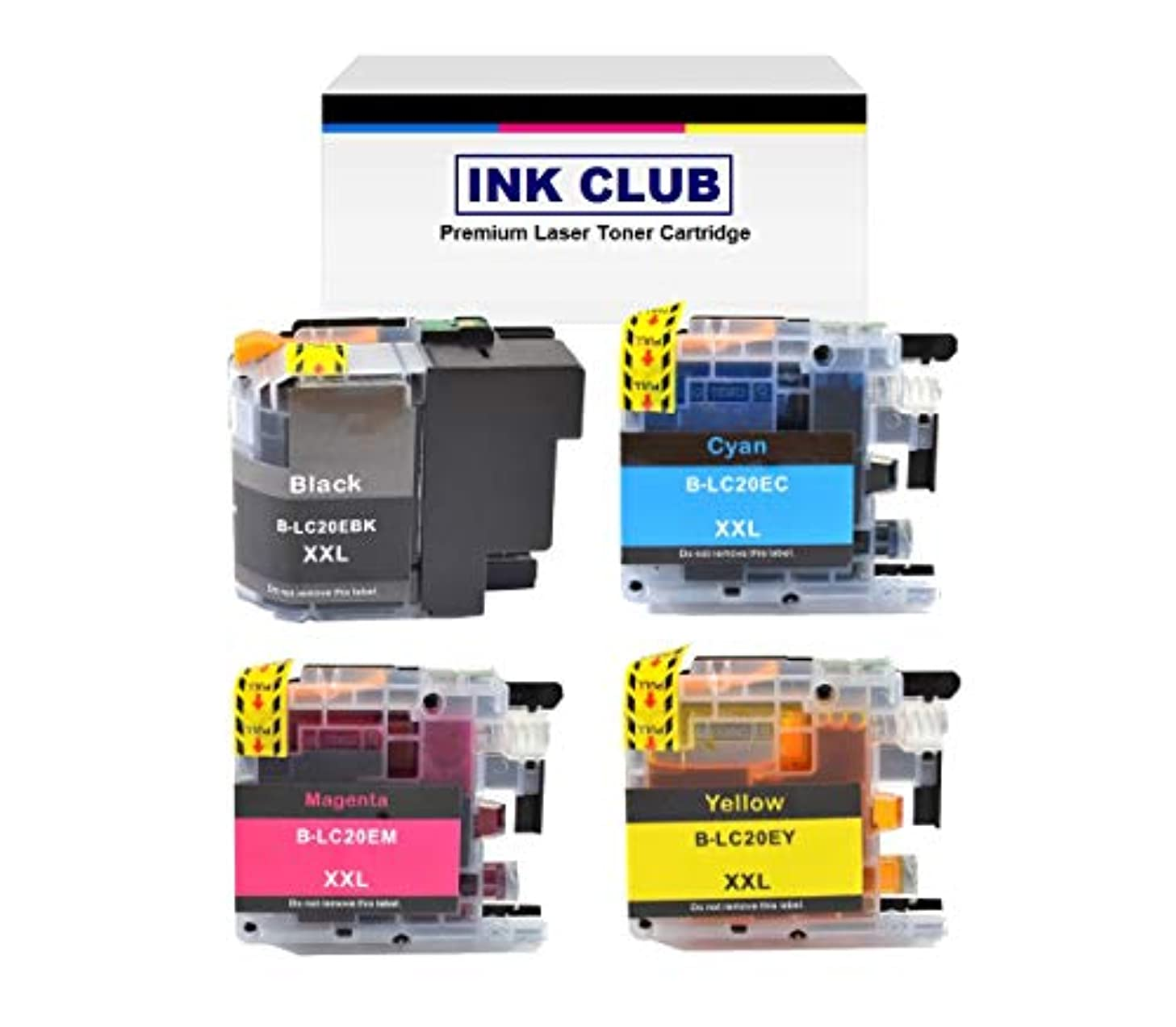 InkClub LC20EBK LC20EC LC20EM LC20EY (XXL) Super High Yield Ink Cartridge Set, Replacement Use for Brother MFC-J5920DW, MFC-J775DW, MFC-J985DW Printers (B/C/M/Y, 1B,1C,1M,1Y)