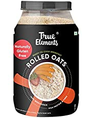 True Elements Rolled Oats 1.2 kg - Gluten Free Oats, Protein Rich Whole grain Oats, Healthy Breakfast, Super Saver Pack