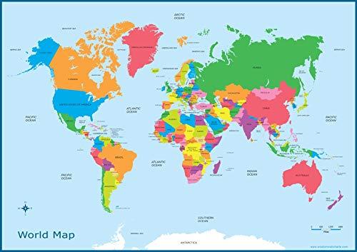 World Map - Kids Childrens Wall Chart Educational A3 (30cm x 42cm) Childs Poster Print Art WallChart Map of World