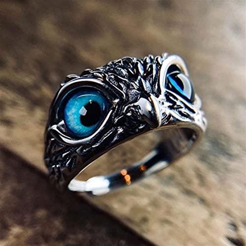 Withou Anillo Abierto, Personalidad Retro Demonio Ojo Owl Ring Estadounidense Moda, Hombres y Mujeres, Anillo Ajustable de Hip Hop Artilugio