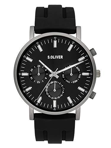 s.Oliver Herren Analog Quarz Uhr mit Silicone Armband SO-4063-PM