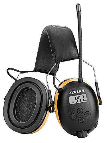 ZOHAN EM042 AM/FM Radio Headphone with Gel Pads, Ear Protection Noise Reduction Safety Ear Muffs, Ultra Comfortable Hearing Protector for Lawn Mowing and Landscaping (Yellow with Gel Ear Pads)