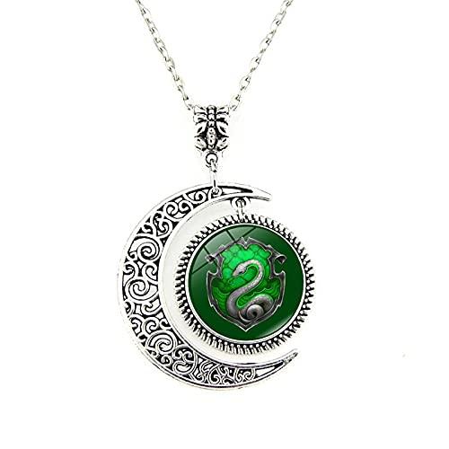 Accesorios De Moda Personalizados Harry Potter Badge Time Gemstone Glass Half Moon Collar Colgante Joyería Europea Y Americana Hombres