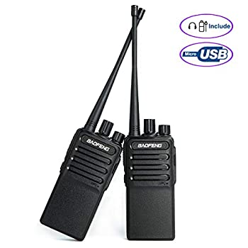 Walkie Talkies Voice Scrambler Rechargable Radio Uhf 400-480Mhz Two Way Radio for Hiking Camping CS Compatible with Bf-888s with 2 Air Acoustic Tube Headset Earpieces by LUITON