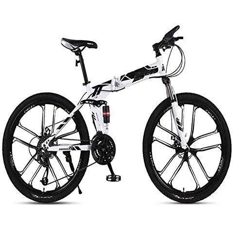 HUAQINEI Bicicleta de montaña Plegable, Bicicleta de montaña voladora, 26 27 velocidades, Velocidad para Adultos, Carreras Todoterreno, Amortiguador, Suave, Hombre, Mujer, Bicicleta, D
