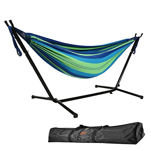 Goutime 9Ft Double Hammock with Detachable Stand,550 Pound Capacity, Includes Portable Carrying Bag Perfect for Indoor Outdoor Patio, Deck, Yard,Balcony (Blue)
