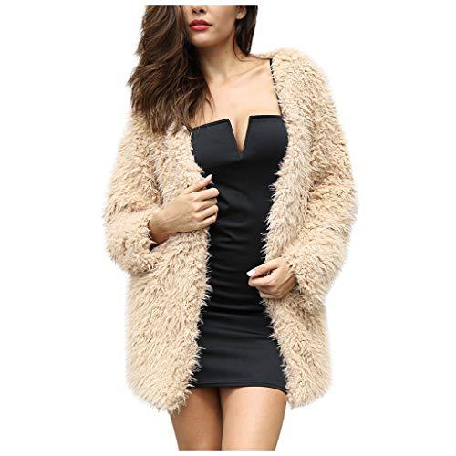 HEVÜY Damen Winterjacken Stylische Warme Steppjacke Mantel Outwear Casual Cardigan Jacke Mit Kapuze Einfarbiger Oversize Flauschiger Plüschmantel Parka