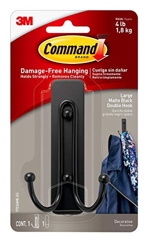 Command Wall Hooks, Large, Matte Black, (17036MB-ES) Decorate Damage-Free