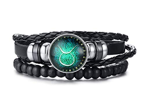 PJ JEWELLERY 12 Constellation Charm Bracelet Men Multi Strand Braided PU Leather Taurus Zodiac Bangle Bracelet Set Jewelry