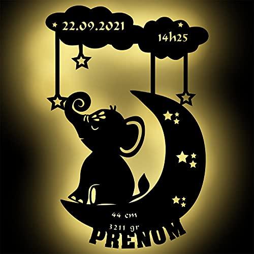 Lampe Led Murale En Bois Gravé - Veilleuse Déco Éléphant Sur Lune Avec Prénom, Date, Heure,...