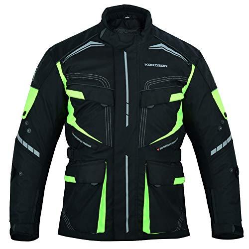 Kerozen Herren Motorradjacke Protective Textil Waterproof Biker Jacke mit Armor Protector (Schwarz-fluoreszierend, XXL)